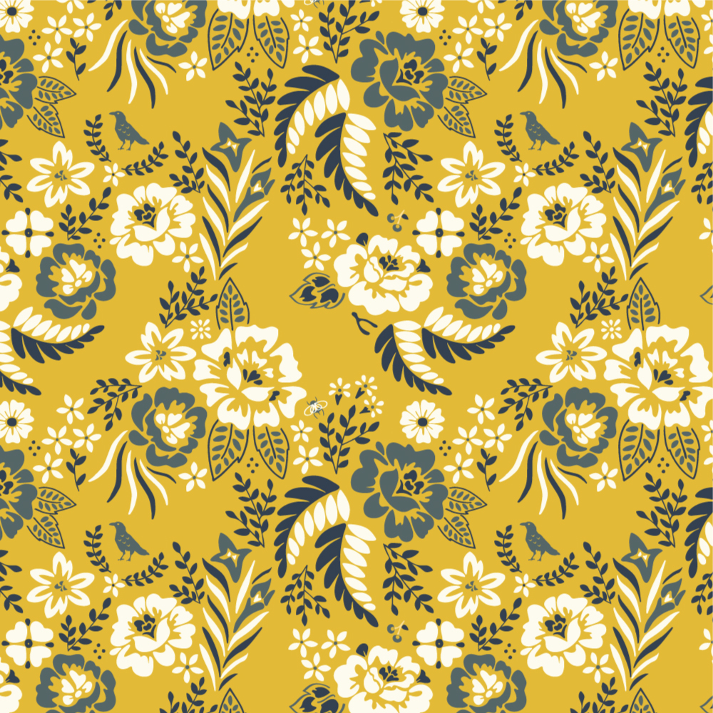 MERRY FLORAL in MARIGOLD CANVAS
