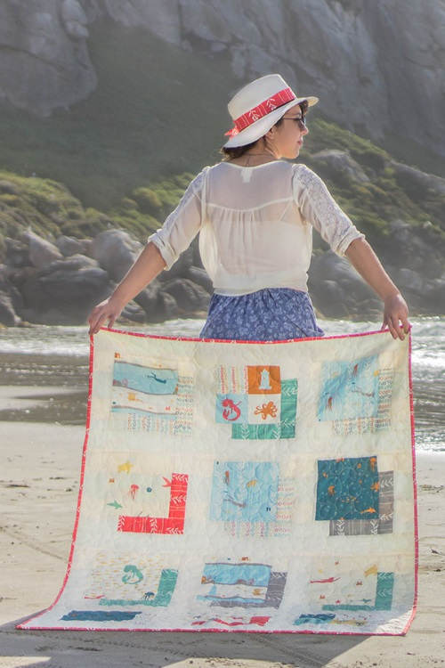 """Sea Squared Quilt"" Free Quilt Pattern designed by Belen Sabi from Birch Fabrics"