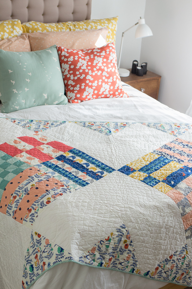 """Home Harvest Quilt"" Free Quilt Pattern designed by Rossie Hutchinson from Birch Fabrics"
