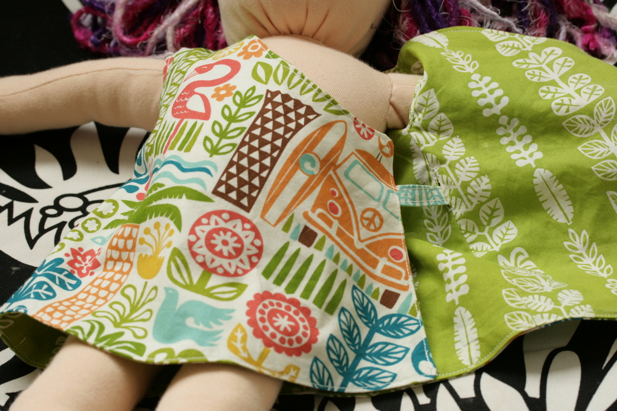 The Crafty Kitty | Lily wraparound, reversible dress (for dolls)