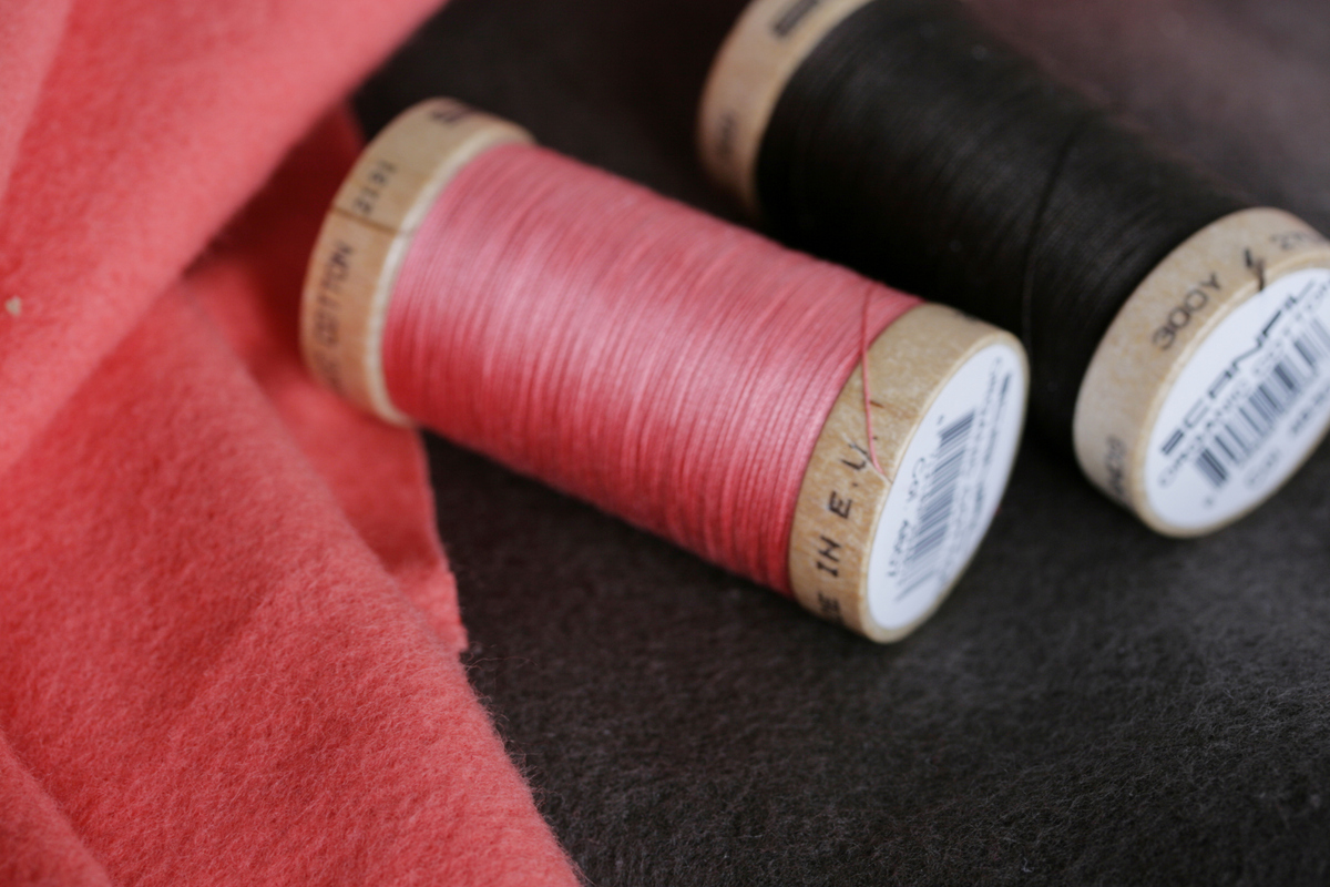 Organic Cotton Fleece from Birch Fabrics and Organic Cotton Sewing Thread from Stitch Organics