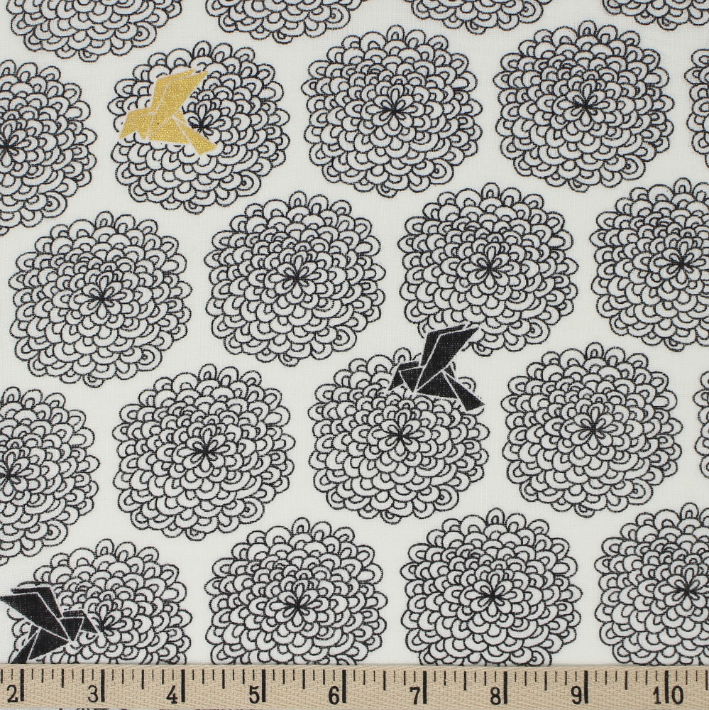 BIRDS and BLOSSOMS in BLACK/METALLIC DOUBLE GAUZE