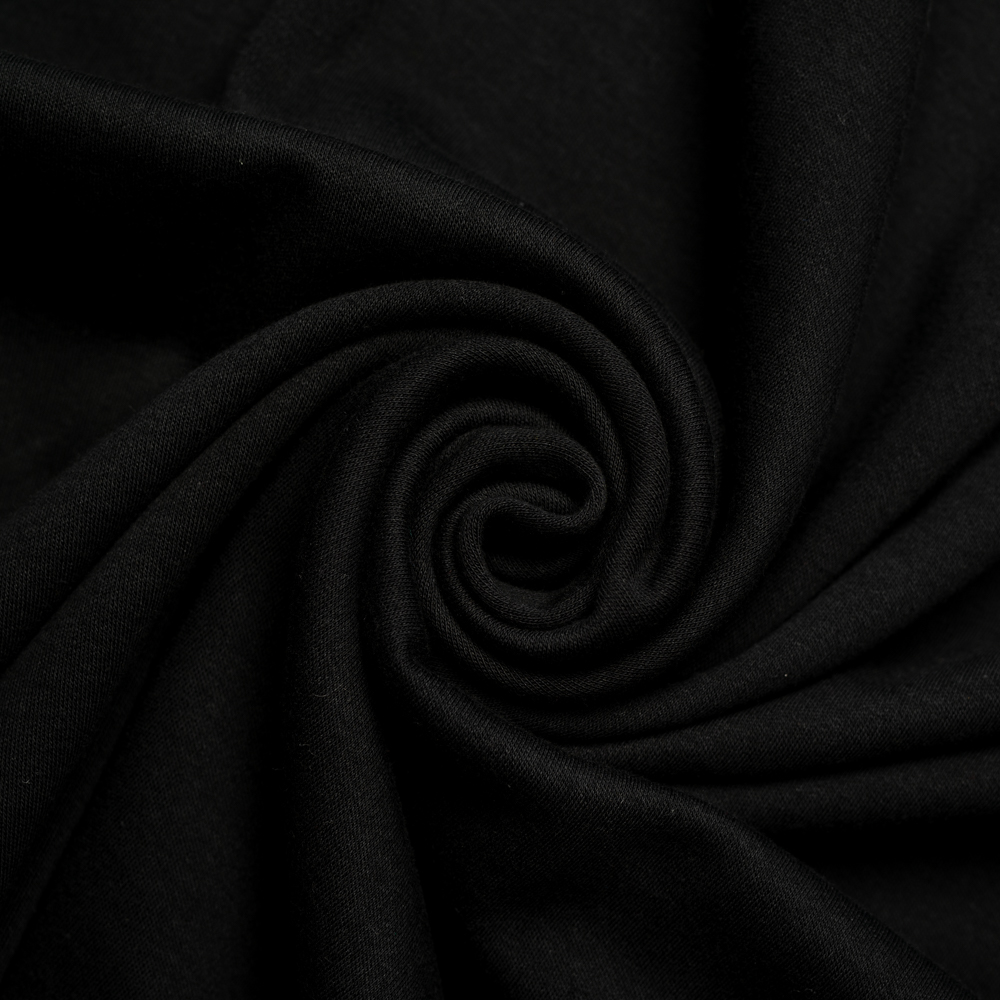 Jet Black Solid Interlock Knit
