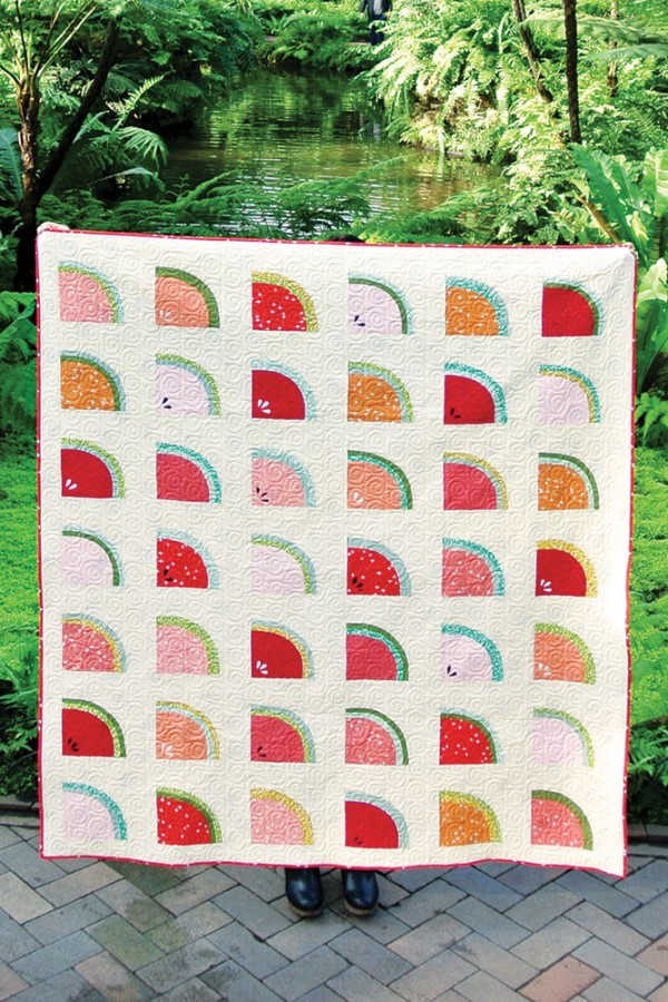 """Mod Melons"" a Free Row Quilt Pattern designed by Suzy Quilts from Birch Fabrics"