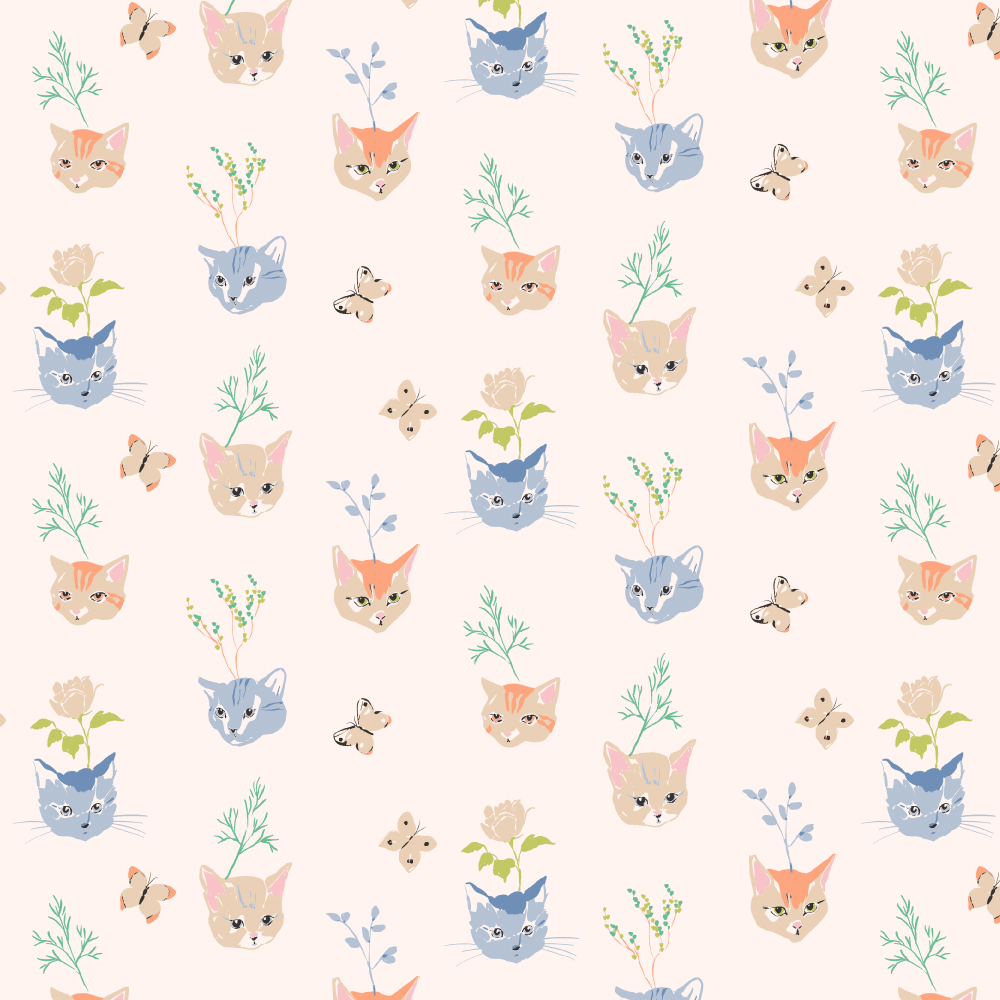 Kitty Garden Main Poplin