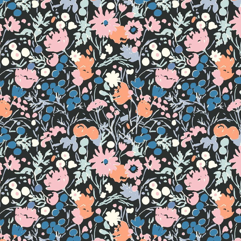 Wildflowers Midnight Poplin