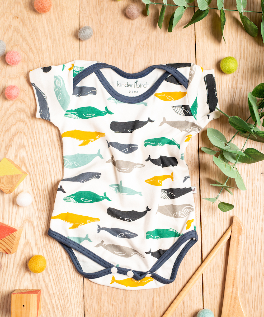 Kujira Boy Interlock Knit Bodysuit Sample by Kinder Birch